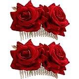 Bememo 2 Pack Rose Flower Hair Clip Women Rose Flower Hair Accessories Wedding Hair Clip Flamenco Dancer (Red)