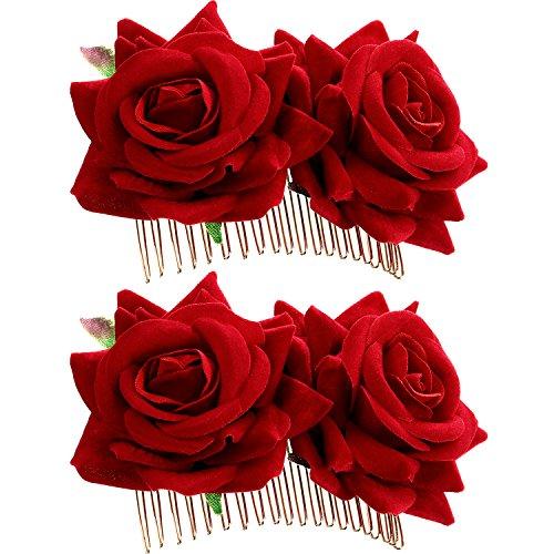 2 Pièces Rose Pince à Cheveux Fleur Femmes Rose Fleur Accessoires de Cheveux de Mariage Clip de Cheveux Danseur de Flamenco (Rouge)
