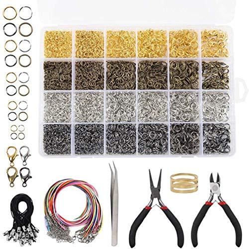 4294 piezas Set de reparación de joyas collar reparación con anillos abiertos, cierre de mosquetón, pinzas enceradas, animales para abalorios, llaveros