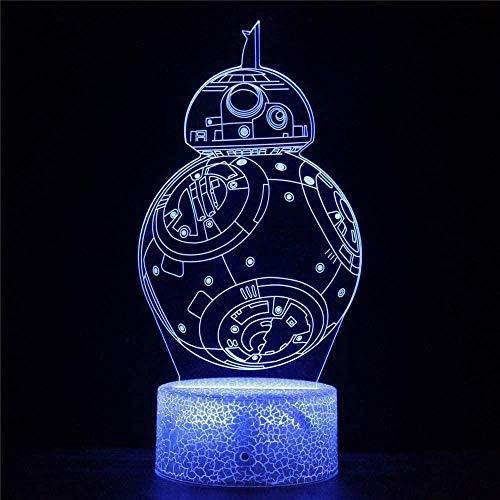 Tatapai Lámpara de ilusión óptica 3D 3D para niños y niñas, regalo de cumpleaños, Navidad, 16 colores cambiantes, lámpara nocturna con mando a distancia y táctil, Star Wars 45-Star Wars 45