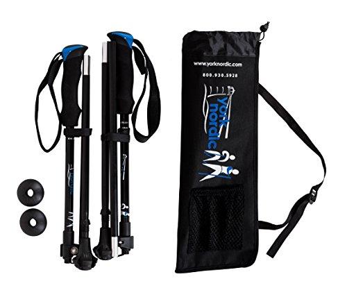 York Nordic Shorter Length Traveler Trek Folding Walking Poles with Carrying Bag (2 Piece), Black