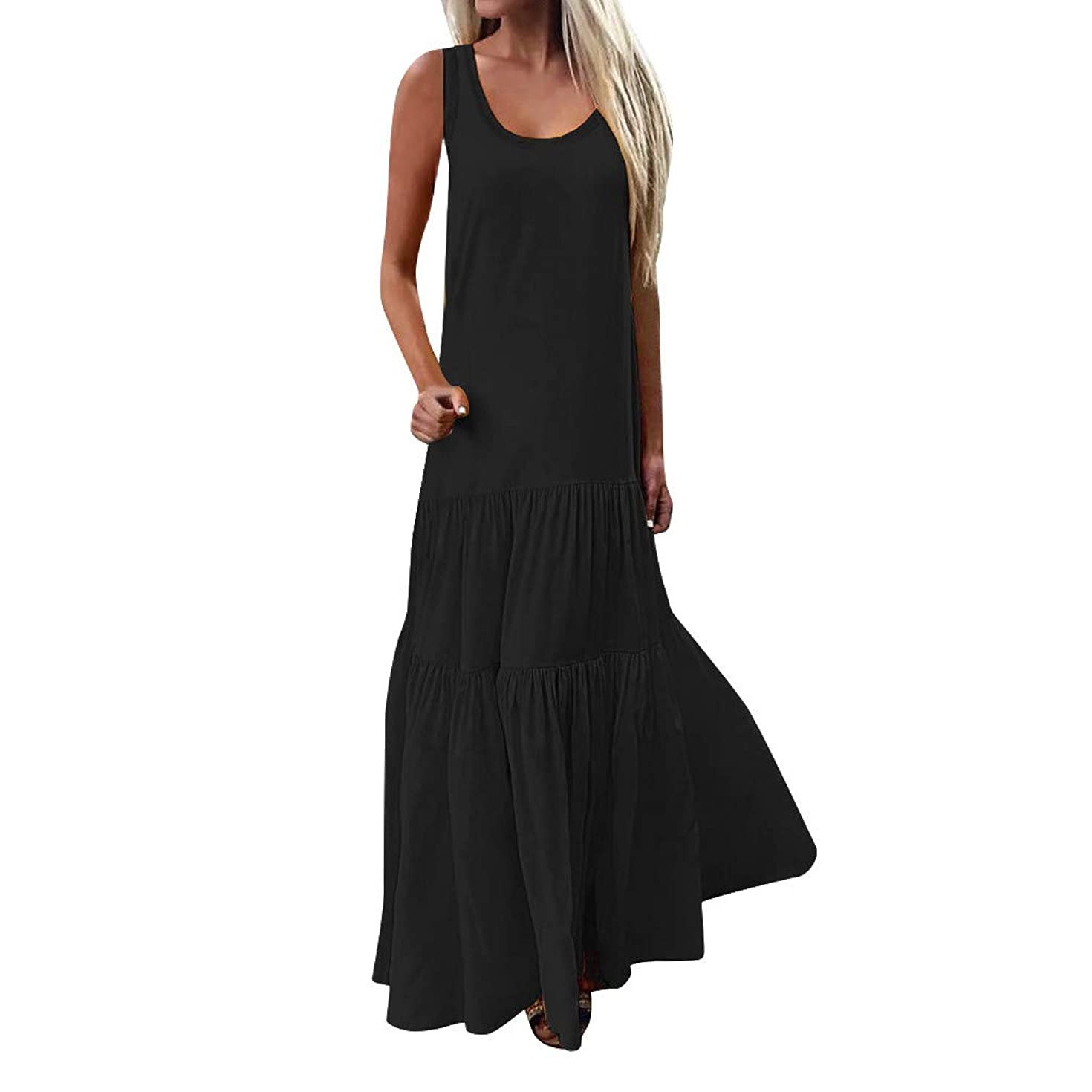 Sunhusing Women's Bohemian Casual Wind Long Maxi Dress Sleeveless Low Cut Ruffles Baggy Floor-Length Dress