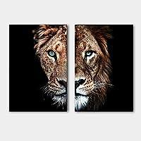 """装飾キャンバス絵画動物ポスターライオンと雌ライオンの壁アート装飾壁画写真家の装飾60x80cm / 23.6""""x31.5"""" X2フレームレス"""
