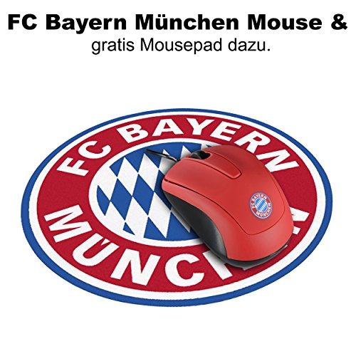 FC Bayern München Snappy Mouse/muis met 1200 dpi en 1,5 m kabel FCB - Fan Edition plus gratis muismat rond & sticker Forever München