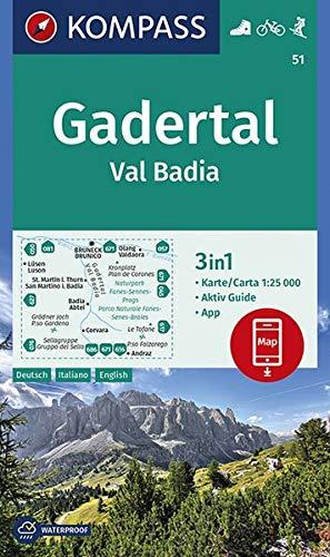 KOMPASS Wanderkarte Gadertal, Val Badia: 3in1 Wanderkarte 1:25000 mit Aktiv Guide inklusive Karte zur offline Verwendung in der KOMPASS-App. Fahrradfahren. Skitouren. (KOMPASS-Wanderkarten, Band 51)