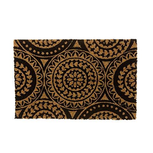 Lola Home Felpudo Vintage de Fibra de Coco Natural de 40x60 cm (Mandala Negro)