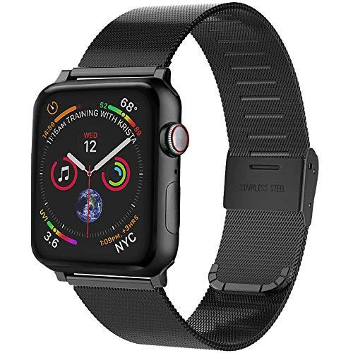 Vecann Correa para Apple Watch Correa 38 mm 42 mm 40 mm 44 mm, correa de repuesto ajustable, delgada y estrecha, de acero inoxidable, hebilla de metal, compatible con iWatch Series 6 5 4 3 2 1
