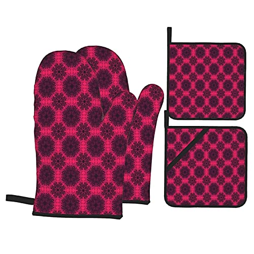 Baroque Rose Mandala Heat Resistant Kitchen Oven Mitts, with Non-Slip Oven Proof Gloves And Pot Holders for Housewares Cooking Baking Microwave Grilling