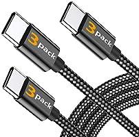 【3本セット 0.3m/1.2m/1.8m 】BRG USB Type C ケーブル ナイロン編み USB-A to USB-C タイプ C 充電ケーブル 高耐久 急速充電 高速データ転送 usbケーブル Type-C機器充電(ブラック)