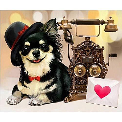 5D Diamond Painting DIY Round Diamond Painting Dog with hat 40x30cm Rhinestone Embroidery Cross Stitch Mosaic Art Ornaments Kids Gifts