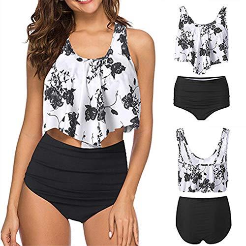 YEBIRAL Bikini High Waist Damen Zweiteiliger Badeanzug Bikini Set Vintage Boho Blumenmuster Bademode Hohe Taille Bauchweg Bikinihose mit Langem Volant(EU44-46=Tag Size 3XL,Schwarz-01)