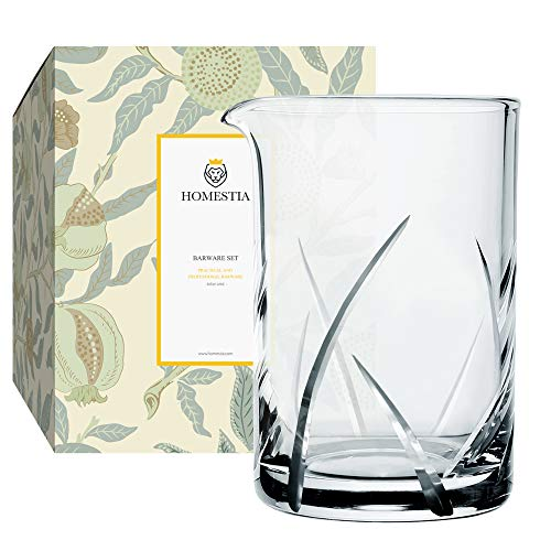 Homestia Cocktail Mixing Glass 24oz Seamless Stirring Glasses in Thick Bottom Exculsive Leave Pattern for Bartender&Home Bar