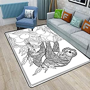 Sloth Cute Area Rugs, Lovely Sloth with Its Baby in Forest Tree Outline with Ripe Fruits Cheering Nature Bedroom Carpets for Kid Nursery Girls Baby, 6'6″ x 9′ Black White
