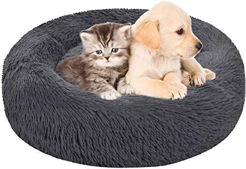 ZPXTI Hundebett hundesofa Flauschiges Hunde rundes Bett Katzenbett Hundekissen (50cmAußendurchmesser, Dunkelgrau)