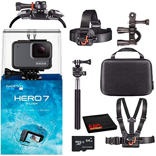 GoPro HERO7 Hero 7 Waterproof Digital Action Camera with 64GB microSD Card Advanced Bundle (Silver)