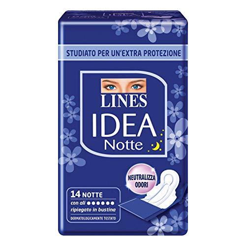 Lines Idea Assorbenti Notte Ripiegati in Bustina con Ali, 14 Pezzi