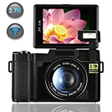 Digital Camera,Vlogging Camera for YouTube 2.7K 24.0MP Ultra HD WiFi Camera 3.0 Inch 180 Degree Rotation Flip Screen (Black)