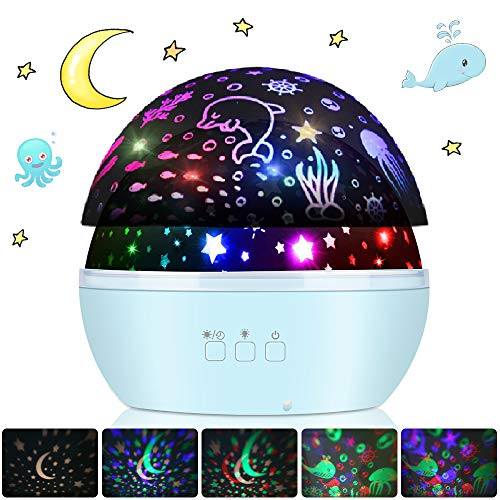 Projektor Lampe Sternenhimmel, 2 Themen mit 8-Farbig Sternenprojektor und Ozean SterneNachtlicht Kinder Baby 360° Drehbar Schlaflicht für Kinderzimmer Schlafzimmer Geburtstag Weihnachten