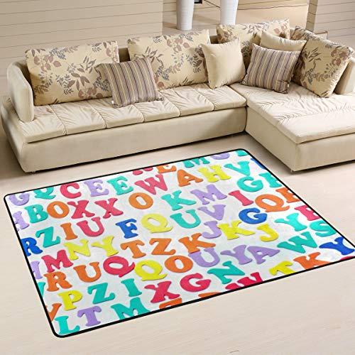 MONTOJ Fußmatte mit Alphabet-Buchstaben Weathertech für Wohnzimmer, Schlafzimmer, Wohnzimmer, Dekoration, Teppich, Abriebfest, Polyester, 1, 72 x 48 inch
