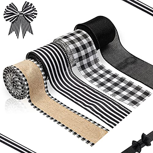 MALLMALL6 4 Rolls Farmhouse Wired Edge Faux Burlap Ribbons 2.5' x 30 Yards Plaid Check Black White Gray Stripe Ribbon Linen Sackcloth Crafts for Flower Wreath Floral Bouquet Wrapping Home Decor