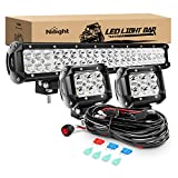 Nilight 20Inch 126W Spot Flood Combo Led Off Road Led Light Bar 2PCS 18w 4Inch Spot LED Pods With 16AWG Wiring Harness Kit-3 Lead, 2 Years Warranty