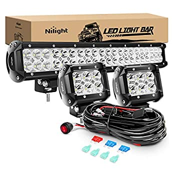 Nilight - ZH002 20Inch 126W Spot Flood Combo Led Off Road Led Light Bar 2PCS 18w 4Inch Spot LED Pods With 16AWG Wiring Harness Kit-3 Lead 2 Years Warranty