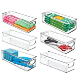 mDesign Plastic Stackable Home Office Storage Organizer Container with Handles for Cabinets, Drawers, Desks, Workspace - BPA Free - for Pens, Pencils, Highlighters, Tape - 10' Long, 6 Pack - Clear