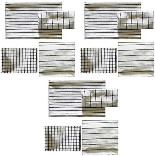 IKEA 204.763.46 RINNIG - Juego de 12 paños de cocina (45 x 60 cm), diseño de flores, color blanco y gris oscuro