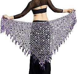 Aivtalk Women Belly Dance Hip Scarf Sequins Mesh Triangle Wrap Skirt