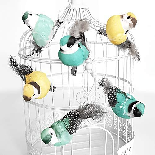 in due Dekovögel mit Federn Vögel mit Clip (6 Stück) Mint & gelb zum Dekorieren an Zweigen oder Dekokäfigen - Für Hochzeit, Frühling oder Tischdeko