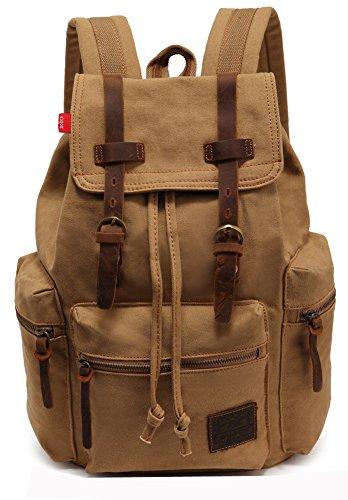 AUGUR Satchel Escuela Mochila Hombres Mujeres Vintage Canvas Backpack Senderismo Bolsa Casual Bolsa de Viaje Bookbag iPad Bolsa (Khaki, 28 * 16 * 42cm)
