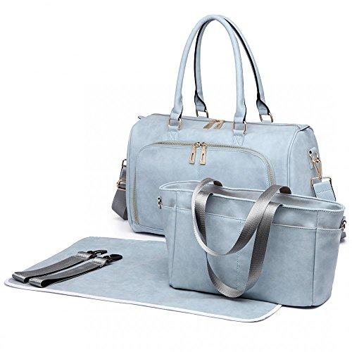 Miss Lulu, borsa per pannolini per la cura del bambino, borsa per il cambio di maternità, borsa a tracolla in pelle PU grande, 3 pezzi (6638 azzurro)