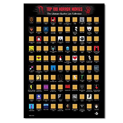 100 Horror Movies Scratch Off Poster with Scratching Tool- Bucket List Collection - Horror Movie...