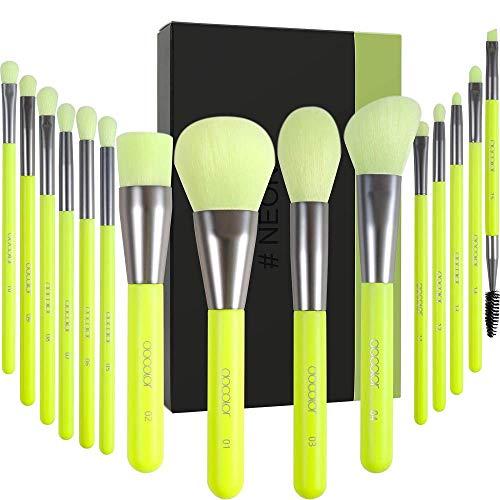 Docolor pennelli make up 15 pezzi Neon Green Kabuki Foundation Pennello per sfumare Cipria Blush Correttori Pennelli per ombretto Kit professionale per trucco con confezione regalo