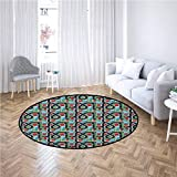 Kids Car Race Track Roadway Activity Round Bathroom Rug Crossroads Top View in Highway with Houses and Trees Kids Floor mat Multicolor,Diameter 5'(150cm)