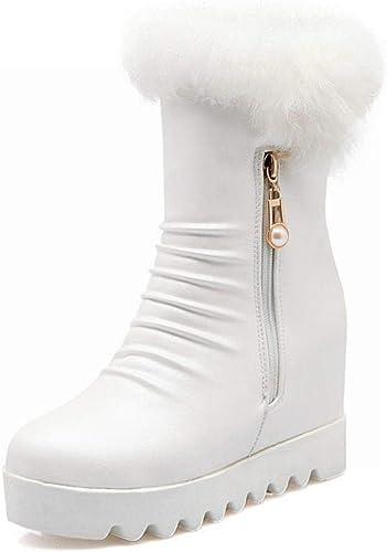ZHRUI Stiefel para damen - Stiefel Antideslizantes de Invierno cálido Stiefel de algodón con Fondo Plano aumentadas Stiefel Cortas de Cabeza rotonda   34-43 (Farbe   Weiß, tamaño   36)