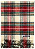 CITY SCARF - 100% Cashmere - Made in Scotland - Soft Wool Solid Colorful Plaid Tartan Scottish Check Men Women Unisex (Stewart Victoria Modern Beige Green Red Z31)