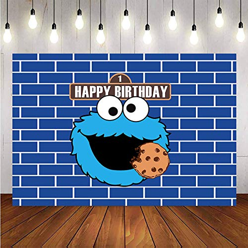 Cookie Monster Backdrop for Kids Happy Birthday Party Decoration Photo Background Children Baby Shower Sesame Street Cookie Monster Theme Photography Backdrop Cake Dessert Table Decor Supplies Banner
