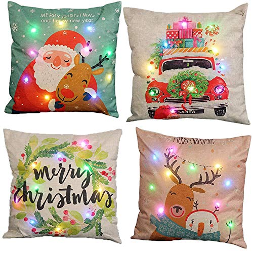 Ubrand 4 Pack Christmas Pillow Cover Classic Christmas Elements LED Luminous Light Throw Pillow Cover for Christmas Sofa Decorative Cushion Home Decor (45 * 45cm)