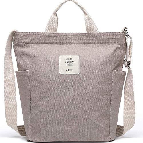 KIWITECH Tasche Canvas Damen Umhängetaschen groß Handtasche Damen Schultertasche Crossbody Bag Shopper für Schule Shopping Arbeit Einkauf -Grau