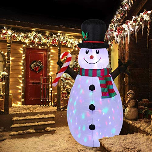 Christmas Snowman Inflatable Outdoor Decoration, 5FT Blow Up Snowman Xmas Indoor, Yard, Garden Lawn Decoration with丨Rotating LED Lights and Inflator Fan丨for Outside Yard Garden Display (White)