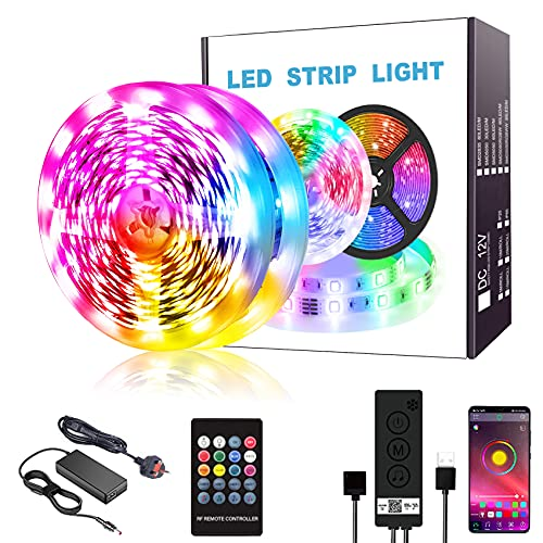 LED Strip Lights 10m Color Changing LED Strips kit 300 LEDs RGB 5050 IP65 Waterproof Strips with Bluetooth APP Controller for Home Bedrooms Decoration Sync with Music