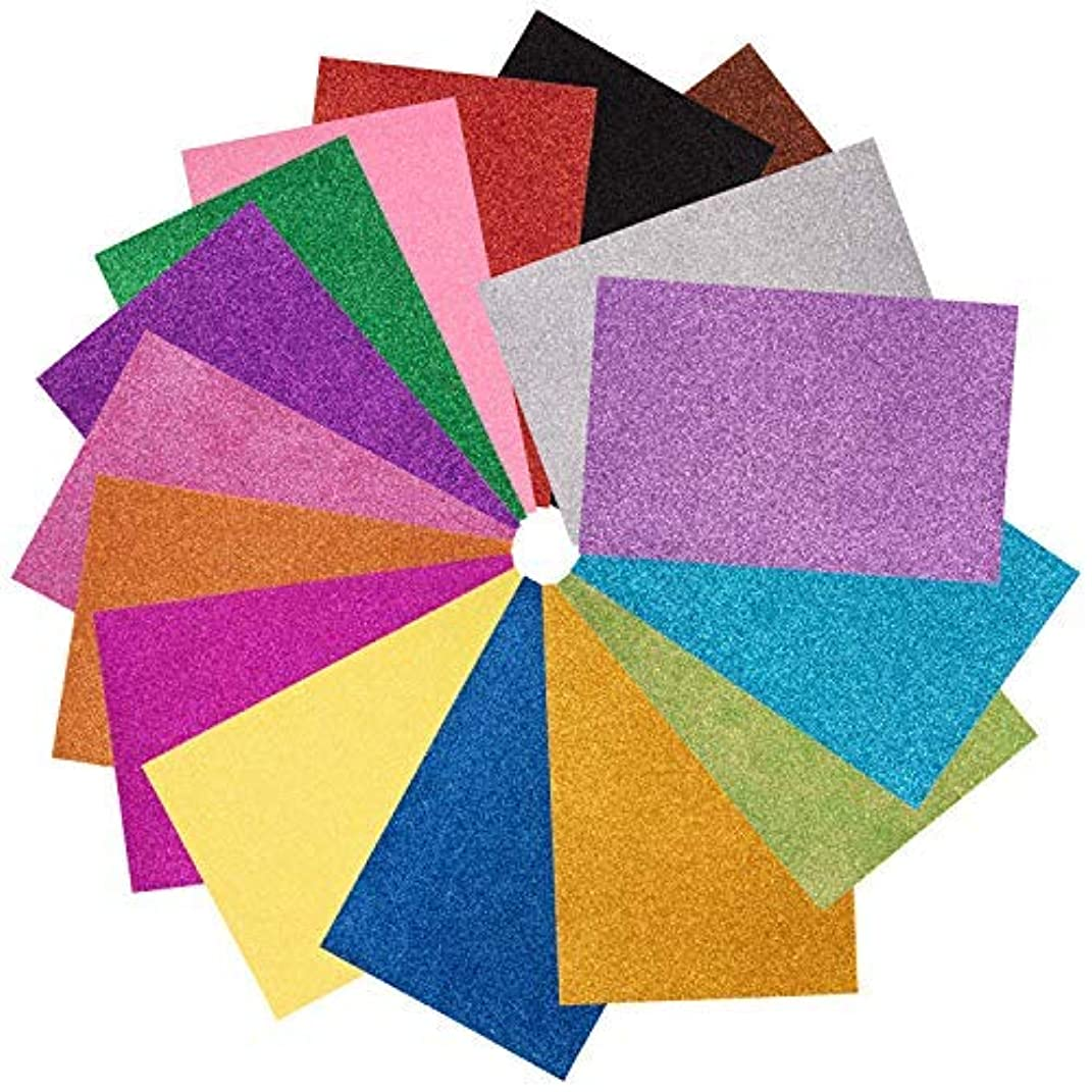 Juvale 32-Pack Adhesive Glitter EVA Foam Sheets for DIY Crafts & Scrapbooking, 16 Assorted Colors, 8 x 12 Inches
