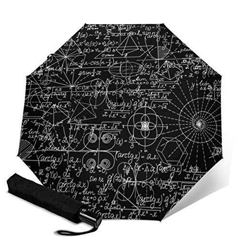 Mathematisch Mit mathematischen Figuren und Gleichungen Reiseschirme für Damen, Sonnenschirme für Damen, Kompaktschirme für Regen und Einhandbedienung