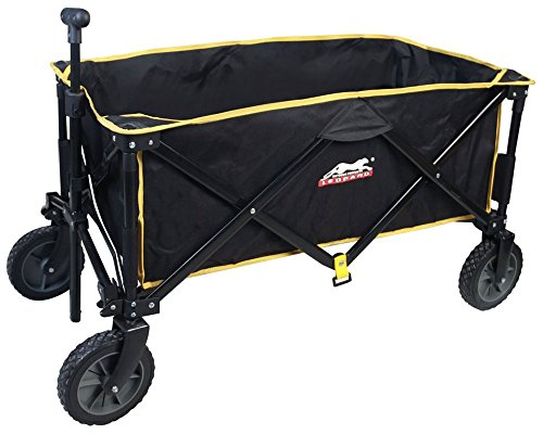 Folding Roomy Sports Utility Wagon Compact Collapsible Bench carts,5 cu.ft.Great Camping Wagon,Shopping Cart,Garden Cart by Leopard(Black)