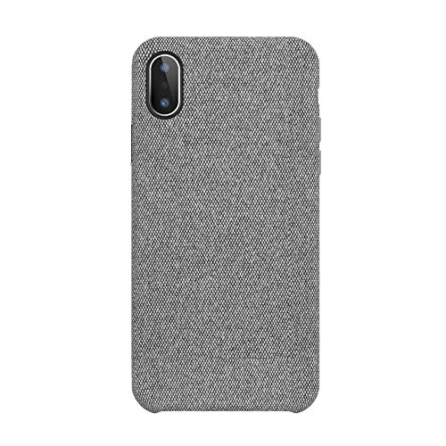 iPhone X Hülle Stoff Leinen Schutzhülle Canvas Handytasche Anti-Fingerabdruck, Stößen Schutzhülle für iPhone X Case Cover- Grau, 5.8 Zoll (2017)