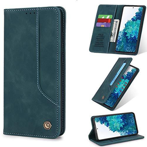 TOPOFU Funda para Xiaomi Mi 11 5G, [Vintage de Billetera Cuero de la PU] Carcasa Magnética Oculta con Tapa Abatible y Ranuras para Dinero y Tarjeta de Crédito para Xiaomi Mi 11 5G-Azul