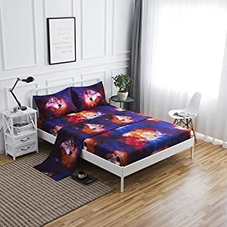 SDIII 4PC Wolf Bed Sheets Microfiber Queen Animal Bedding Sheet Sets with Flat Sheet, Fitted Sheet and Pillowcase