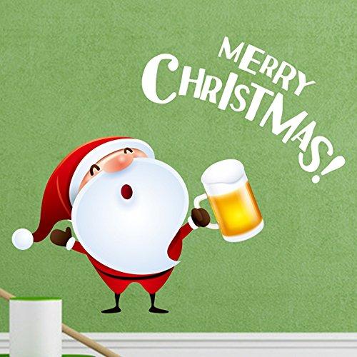 DIYthinker Weihnachtsmann mit Bier für Weihnachtsdekorationen Frohe Weihnachten Illustration Aufkleber Hochzeitsdeko Vinyl wasserdichte Wand PVC-Aufkleber-Tapete Aufkleber Removable