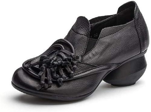 Fuxitoggo Damen Quaste Schuhe Block Leder Vintage Casual Mary Jane (Farbe   Schwarz Größe   EU 40)